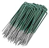 GardenMate 100x Picchetti di Ancoraggio in Acciaio zincato a Caldo per Erba Sintetica - Lunghezza 150 mm * Larghezza 25 mm * Spessore 2,9 mm - Testa Piatta - Rivestimento Verde