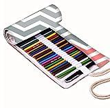 Snoogg Frequenz-weichen Design Leinwand Wrap Halter für 48farbigen Bleistift, Rolle Fall für Gel Pen, Reisen Organizer Tasche für Künstler, Mehrzweck (keine Bleistifte im lieferumfang enthalten), 48Löcher
