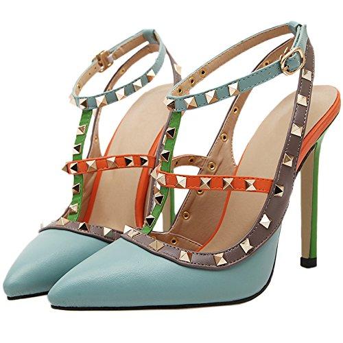 HooH Femmes Sandales Stiletto bout pointu Multicolore Sexy Deux Sangle Gladiateur Escarpins Bleu