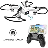 WINGLESCOUT Drone avec caméra, Avion de contrôle à Distance avec caméra 720P HD FPV, vidéo en Direct, Quadricoptère RC avec Maintien de l'altitude, Mode sans tête, retournements 3D et Retour de clé