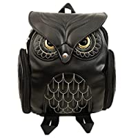 Girls Owl Shape Backpack Pu Leather Mini Bag Vintage Daypack
