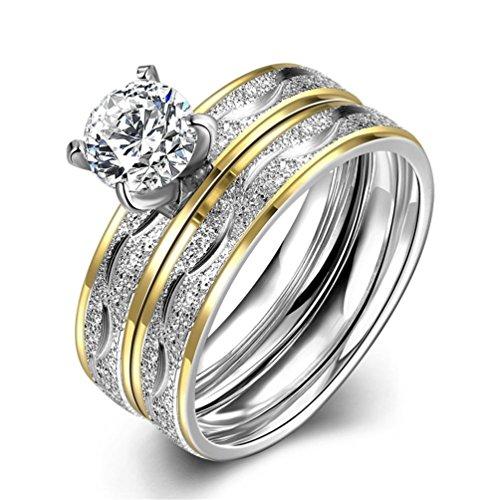 HMILYDYK-Acciaio inossidabile Sparkle con zirconi 2pc un set anello di fidanzamento Wedding Band taglia 6-9, acciaio inossidabile, 61 (19.4), cod. GUTGR063-A-9