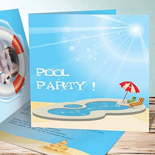 Einladungskarten für Kindergeburtstag, Poolparty 5 Karten, Quadratische Klappkarte 145x145 inkl. weiße Umschläge, Orange