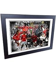 "12x 8A4Signed ""The Alex Ferguson ans"" Celebration–Cantona-ronaldo-beckham-giggs-rooney-scholes autographe Manchester United Photo Cadre photo Tableau Cadeau"