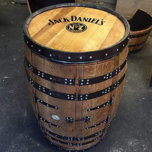 #Getränkeschrank/ Weinregal, aus einem recyceltem Fass der Marke Jack Daniels, mit Aufschrift#