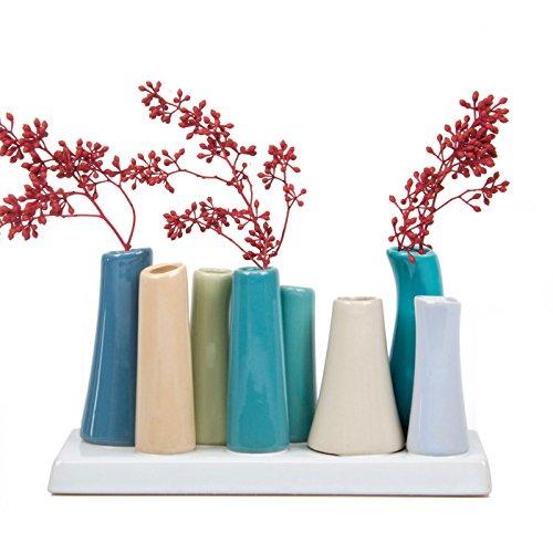 Chive–Pooley 2, Rechteck Keramik Bud Flower Vase, mit 8Röhren für Kurz Blumen, Stahl Blau mit blaugrün und Taupe Sortiment (Rechteck-glas-vase)
