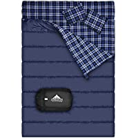 Cotton Flannel Double Sleeping Bag For Camping, Backpacking , Or Hiking. Queen Size XL Cold Weather 2 Person Waterproof Sleeping Bag For Adults Or Teens. Truck, Tent, Or Sleeping Pad, Lightweight