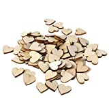 DSYJ Plain Wooden Heart Embellishments for Crafts 30mm Pack of 50