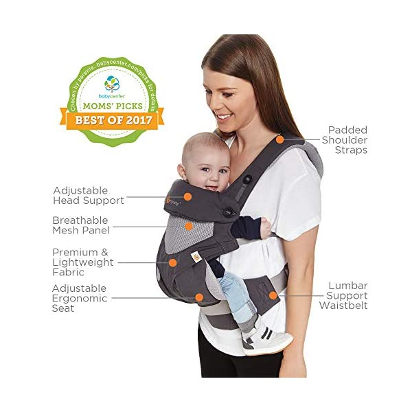 Ergobaby Baby Carrier for Toddler, 360 Cool Air Carbon Grey, 4-Position Ergonomic Child Carrier and Backpack Ergobaby Ergonomic baby carrier for the summer, with 4 ergonomic carry positions: front-inward, back, hip, and front-outward. The carrier is suitable for babies and toddlers weighing 5.5-15 kg, and can be used as a back carrier. Also with insert for newborn babies weighing 3.2-5.5 kg (7-12 lbs), sold separately. NEW - The waistbelt with lumbar support can be worn a little higher or lower to support the lower back and provide optimal comfort, and has adjustable padded shoulder straps. The carrier is suitable for men and women. Maximum baby comfort - Breathable 3D air mesh material provides an optimal temperature for your baby on warm days. The structured bucket seat supports the correct frog-leg position for the baby. The carrier also has a neck support and privacy hood with 50+ UV sun protection. 9
