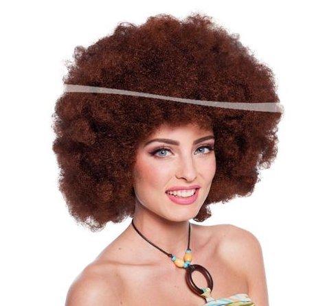 Folat Perücke XXL Afro braun Disco Fasching Karneval ()