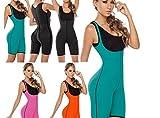 Bonvie.shop Neopren Schwitzanzug Fullbody Thermoeffekt - Schwitzeffekt Fitness Body Shaper Slim Wear Abnehmen Schwitzhose, Farbe:Schwarz, Größe:S