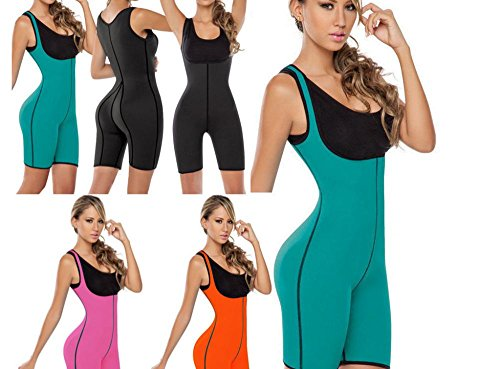 Neopren Schwitzanzug Fullbody Thermoeffekt - Schwitzeffekt Fitness Body Shaper Slim Wear Abnehmen Schwitzhose, Farbe:Schwarz, Größe:XXL (Slim Nylon Shaper)