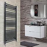 500 x 1400 mm, beheizter Handtuchhalter/Badheizung, Zentralheizung, flach, Schwarz