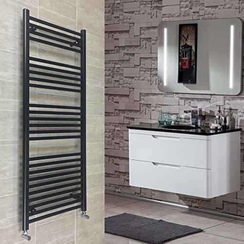 500 x 1400 mm, beheizter Handtuchhalter/Badheizung, Zentralheizung, flach, Schwarz (Flache Schwarze Handtuchhalter)