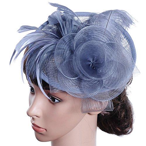 Wxelaniog-flower Persönlichkeit Elegante Damen westlichen Stil Bankett Hut Tiara Stirnband for Party Festival Hochzeitsfotografie Dekoration mit Clip und Haarband für Frauen (Farbe : Grau)