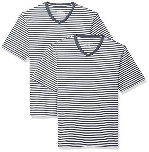 Amazon Essentials Herren Loose-fit Short-Sleeve Stripe V-Neck T-Shirts 2er Pack,Blau(Navy/White),Large -