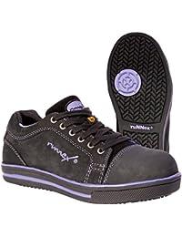 Runnex 5380 - Señoras zapatos de seguridad s3 girlstar calzado antiestático poco baja para el tamaño de las mujeres de 36 años, negro