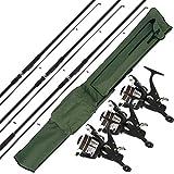3 cannes à pêche NGT Max de 3,7 m pour pêcher la carpe + 3 moulinets pré-montés Max40 2BB - Sac de rangement - Poids de la canne: 4,5 kg