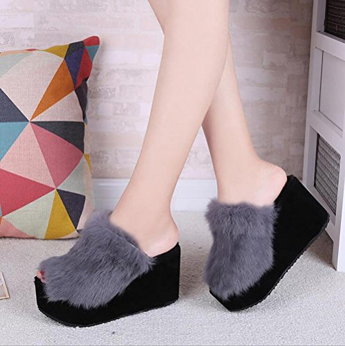 SEX Damen Hausschuhe Plüsch Plattform mit hohen Absätzen Herbst / Winter Schuhe Home Schuhe, grau , 36 (Bogen Frauen Mit Für Winter Schuhe)