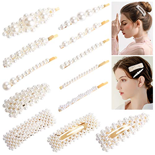 Perlen Haarspangen,Aiglam 12PCs Handmade Frauen und Mädchen Perle Haarnadeln Barrettes für Party, Geburtstag Valentinstag Geschenke (Heißesten Mädchen 2019)