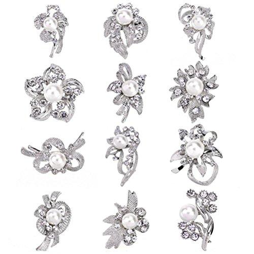 SANWOOD® 12 Pcs Women Rhinestone Flower Brooch Pins Bridal Scarf Lapel Decor Broaches (Silver)