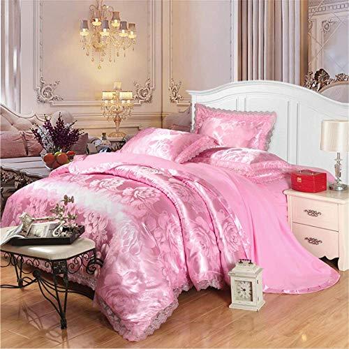 Satin Seide Jacquard Bettwäsche-Sets Bettlaken Königin King Size Bettbezug Sets Rosa 150x200cm ()