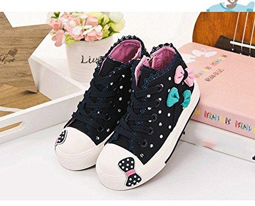 Scothen Sneaker chaussures toile fleur motif fille chaussures toile sneaker haut haute textiles Kid Sneakers Toile enfants chaussures course sport baskets filles bébé princesse chaussures Marine