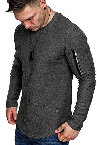 Amaci&Sons Oversize Vintage Herren Pullover Cargo-Style Hoodie Sweatshirt Crew-Neck 6067 Iron XL (Crew Sweatshirt Grau)