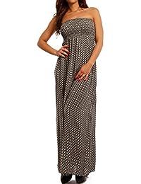230dfe6cd5ba Young-Fashion Damen Maxikleid Hippie Bandeau Long Dress Strandkleid  Trägerlos Langes Kleid für Frühling und Sommer Jumper aus aus…