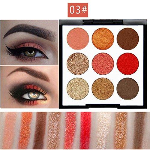 Lidschatten,OHQ 9 Farbe Make-up Lidschatten Pulver Palette Matt Lidschatten Kosmetische Perle Glitter (C)