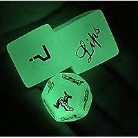 Funny Glow in the Dark 12 FACE Spicy SEX Position Dice pour Bachelor Party ou Love Couples Nouveauté Jeu Jouets Cadeau (3pcs Glow in DARK)