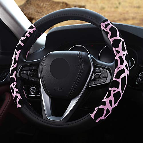 Febelle coprivolante premio felpa morbido veicolo comodo protezione per volante dell'automobile universale diametro 38 cm stampa leopardo(rosa)