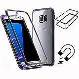 ToDo Funda Samsung Galaxy S7 Edge [Tecnología De Absorción Magnética][Marco de Metal] [Clear Tempered Glass Back] Ultra Fina Ligero Transparente Carcasas - Negro + Transparente