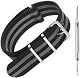 Nylon NATO Watch Strap by Sniper Bay™ Straps | Military Style Divers Bands | 18mm 20mm 22mm 24 mm (20mm, James Bond Black/Grey)