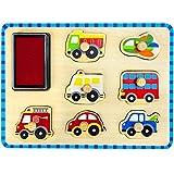 Tooky Toy Stempel Puzzle im Fortbewegung & Transport Design - mit Stempelkissen und niedlichen Motiven ca. 29 x 21 x 2,5 cm