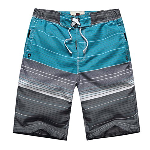 HAOYUXIANG Moda Casual Confortevole Uomini Beach Surfing Shorts Stripe