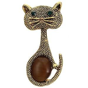 CUHAWUDBA Vintage Opal Katze Augen Brosche Pins Für Frauen Niedlichen Tier Broschen Hochzeit Golden