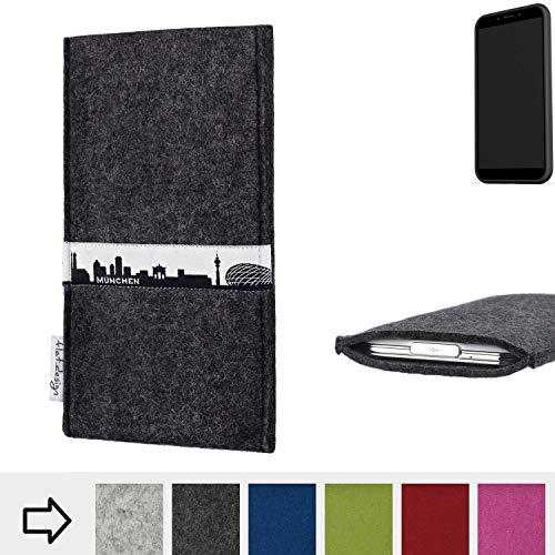 flat.design für Shift Shift6mq Schutzhülle Handy Tasche Skyline mit Webband München - Maßanfertigung der Schutztasche Handy Hülle aus 100% Wollfilz (anthrazit) für Shift Shift6mq