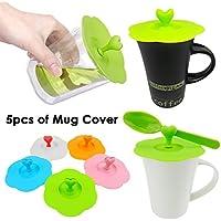 JJOnlinestore - Juego de tapas de silicona con ventosa y sujetador de cucharas en forma de corazón. Para tazas de café y té, silicona, 5 unidades