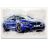 BMW M4 Coupe - Leinwand Bild auf Keilrahmen Wandbild Auto 04.3101 (120 x 80 cm, einteilig)