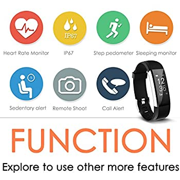Fitness Tracker Aneken Smart Bracelet With Heart Rate Monitor Activity Tracker Bluetooth Pedometer With Sleep Monitor Smartwatch For Ios Android Iphone Samsung Smartphones 6