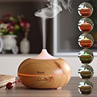 Ksera 300ml Aroma Diffusers, Steam Diffuser, Ultrasonic Essential Oil Diffusers Cool mist Air Humidifiers with 7 Color LED Lights, Auto Shut-off Wood Grain for Yoga, Spa, Bedroom, Baby Room