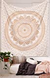 Original Golden Flower Ombre Mandala Tapestry By RawyalCrafts , Bohemian Gold Silver Indian Flower Ombre Mandala Queen Wall Hanging , Bohemian Bedspread Dorm Decor