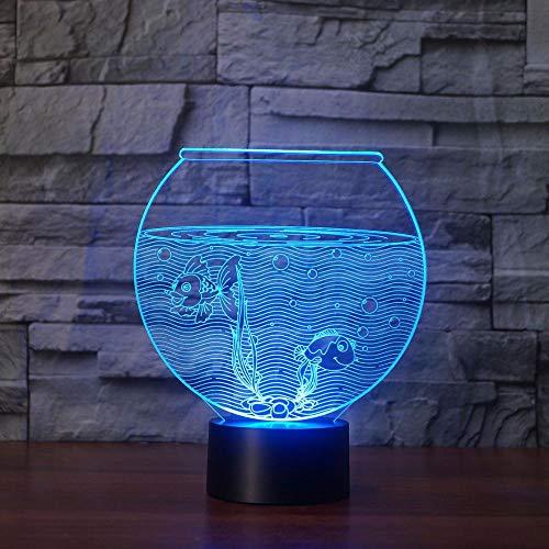 GYBYB Neue lebensechte Aquarium 3D Illusion Lampe 2 Seefische LED Nachtlicht visuelle Lichter Home Desk Dekoration 7 Farben geändert Lampe @ veränderbar (Fish Tank Dekorationen Billig)