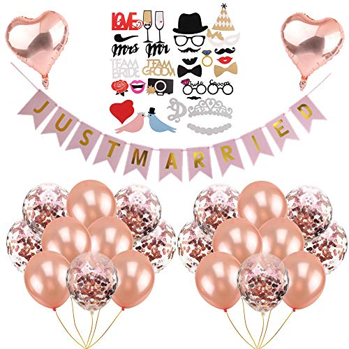 Crazy-M Hochzeit Partei Dekorationen Bridal Shower Dekorationen Rosagold Rose Gold Party Ballon für Hochzeit- 1xJust Married Banner, 31xHochzeit Photo Booth, 2xHerz Folienballon, 20x Konfetti-Ballon
