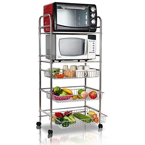 YX SHOP Étagère en micro-ondes en acier inoxydable, étagère de cuisinière à cuisine amovible, avec charge 70 kg (argent) *