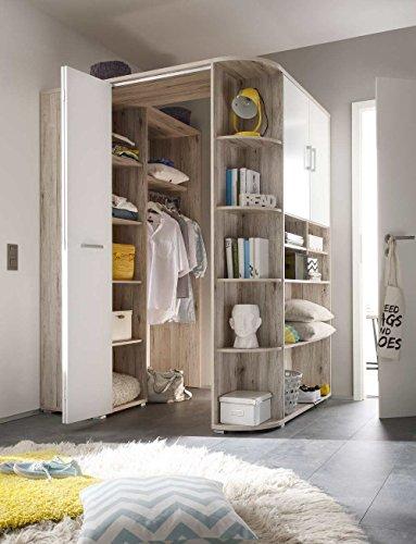 *lifestyle4living Begehbarer Eckkleiderschrank in Sandeiche-Nachbildung, weiße Falttür | Kleiderschrank | Schlafzimmerschrank | Eckschrank*