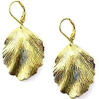 Ohrringe Ginkgo 14 Karat vergoldet mit Blättern. Länge Blatt:3 cm