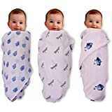 Mom's Home Organic Cotton Baby Muslin Cloth Swaddle - Pack Of 3 - Butterfly ,RoyalElephant, Ganesha 0-18 Months