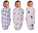 #5: Mom's Home Organic Cotton Baby Muslin Cloth Swaddle - Pack of 3 - fly ,RoyalElephant, Ganesha -0-3 Months